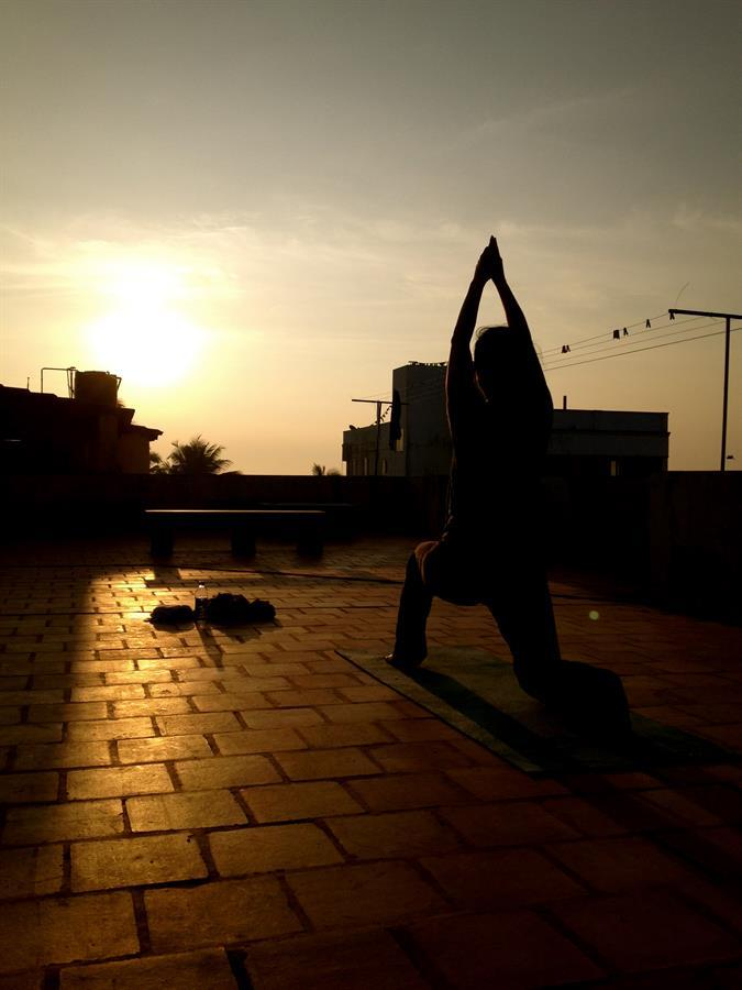 Yoga on the roof top, Pondicherry