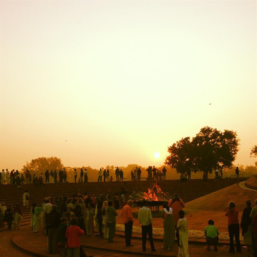 Aurovilles birthday sunrise ceremony