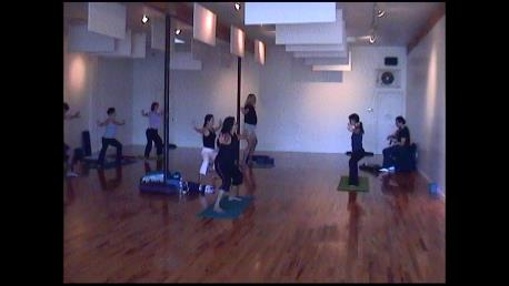 Teaching with live music at Santa Monica Yoga, CA