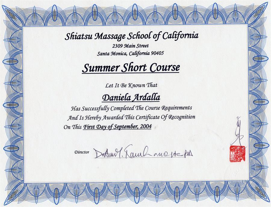 Shiatsu summer course - SMSC, Los Angeles, CA.