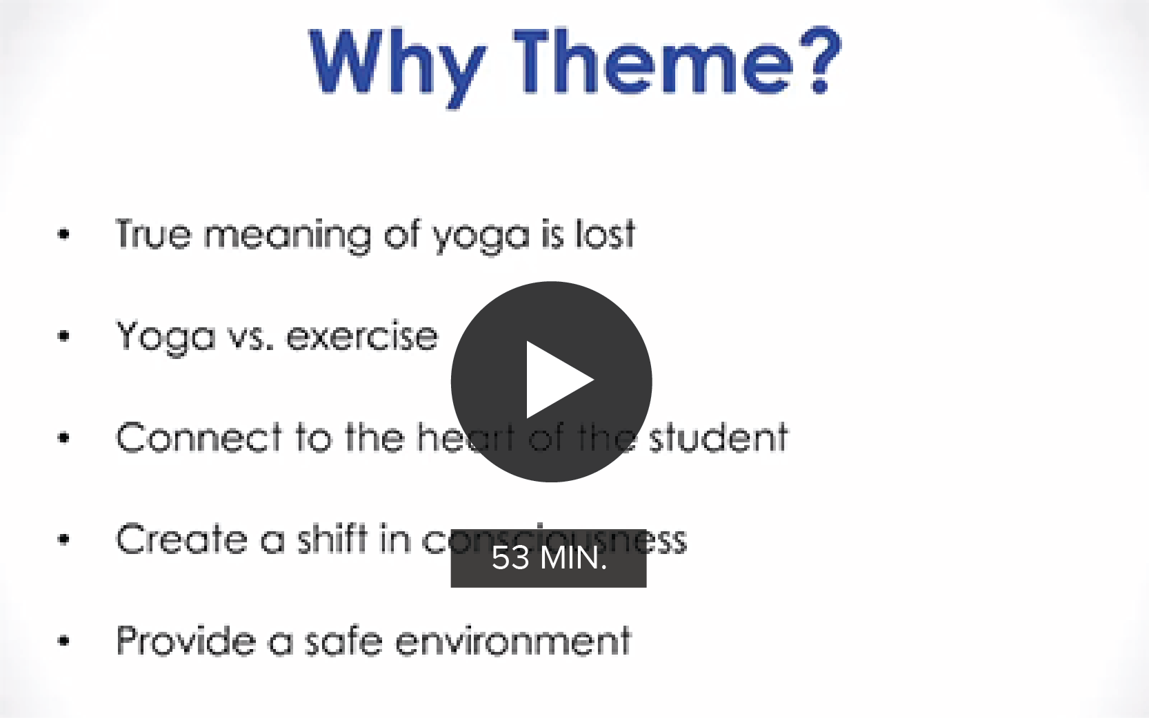 Click to watch 'Creating Themes for Yoga Classes'