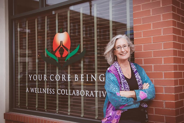 Image of Pat in front of the studio where she teaches